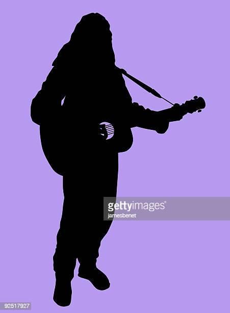 street guitarist (vector) - bob marley musician stock illustrations