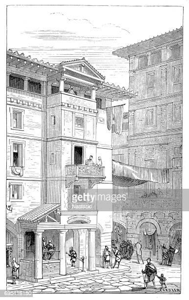 street in ancient rome - mt vesuvius stock illustrations, clip art, cartoons, & icons