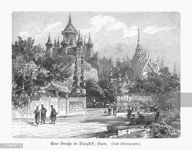 A street in Bangkok, Thailand, wood engraving, published in 1897