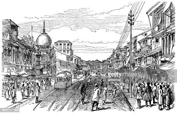ilustrações, clipart, desenhos animados e ícones de rua em bombaim (mumbai) - gravura vitoriana - 1887