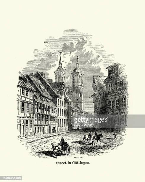 ゲッティンゲン、ニーダー ザクセン州、ドイツ、19 世紀の通り - ゲッティンゲン点のイラスト素材/クリップアート素材/マンガ素材/アイコン素材