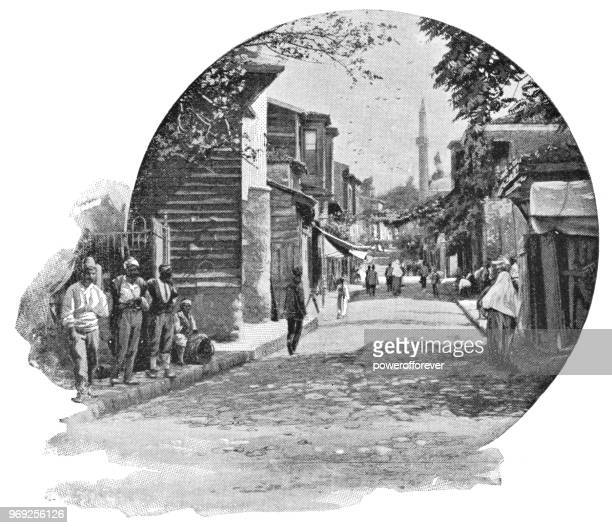 street in istanbul, turkey - ottoman empire - ottoman empire stock illustrations