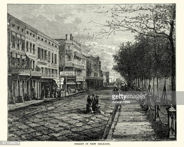 street in new orleans, 19th century - new orleans stock illustrations, clip art, cartoons, & icons
