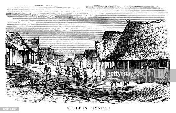 street in tamatave, madagascar - grass hut stock illustrations