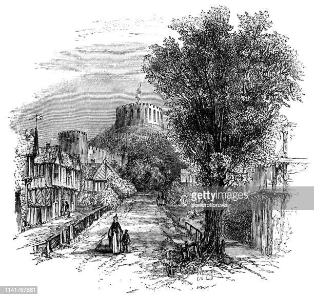 street in the town of windsor, england - 15th century - windsor castle stock illustrations