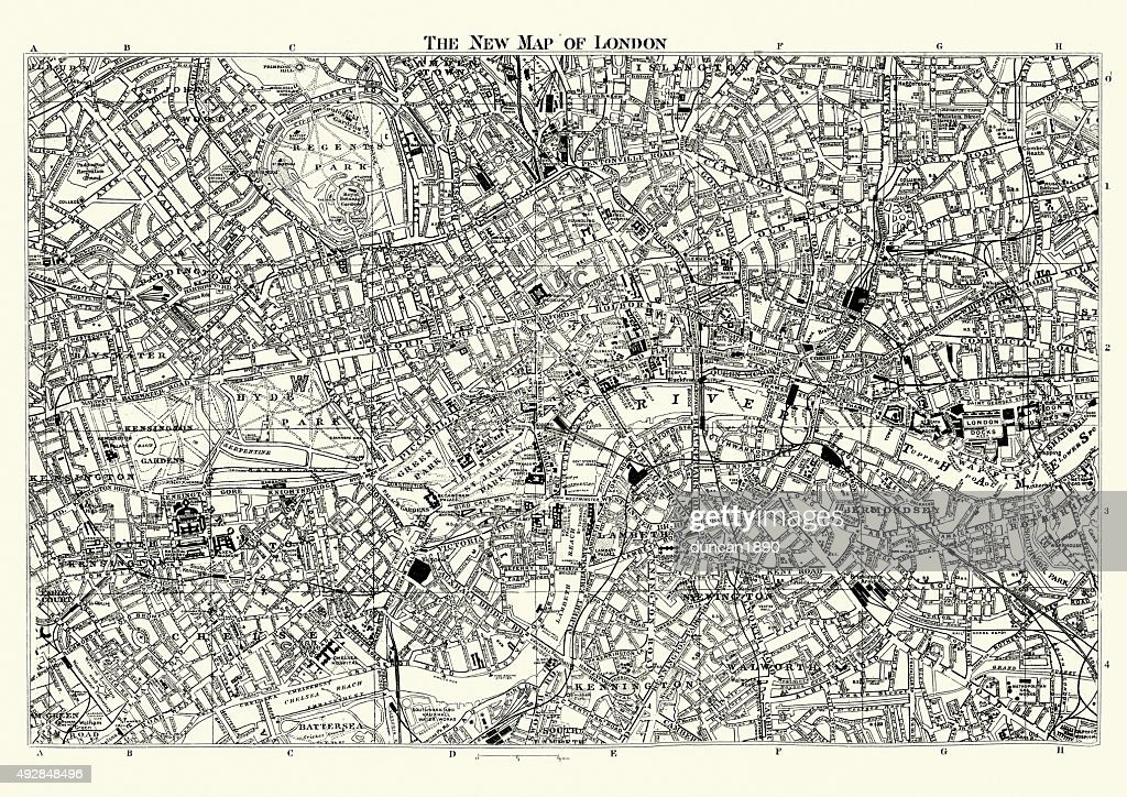 High Resolution London Street Map.Street Map Of Victorian London 1895 High Res Vector Graphic