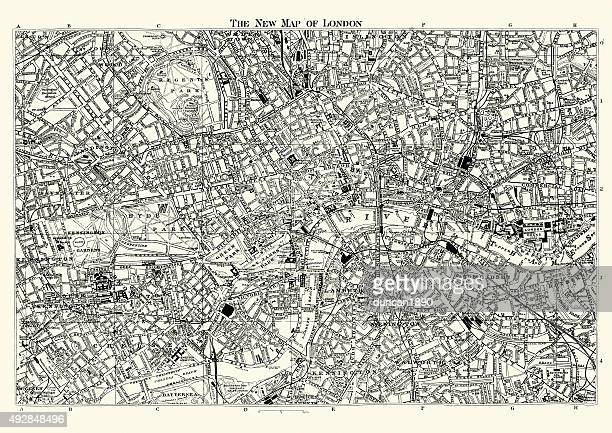 street map of victorian london 1895 - london england stock illustrations