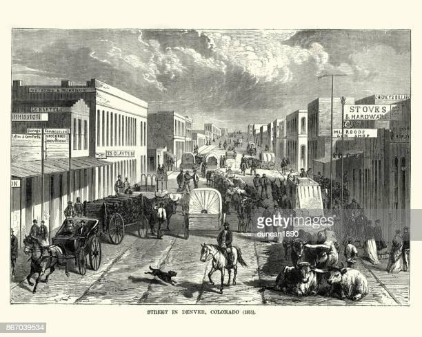 street on denver, colorado, 19th century - carriage stock illustrations