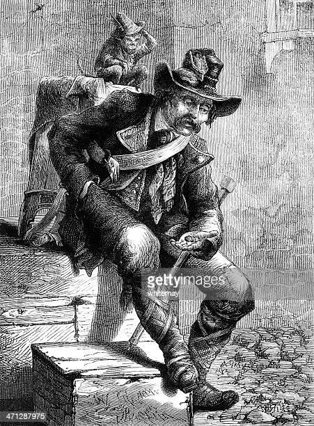 street organ grinder with his monkey (victorian illustration) - vagabond stock illustrations, clip art, cartoons, & icons