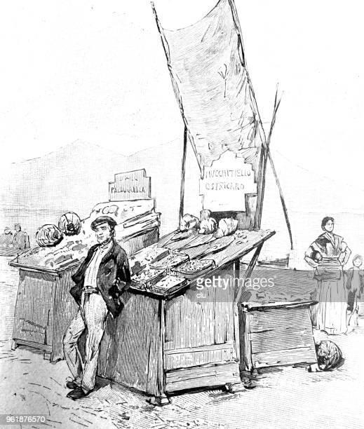 Scène de rue à Naples, Italie - vendeur d'huîtres
