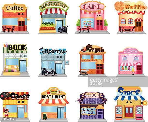 ilustraciones, imágenes clip art, dibujos animados e iconos de stock de calle de compras - boutique