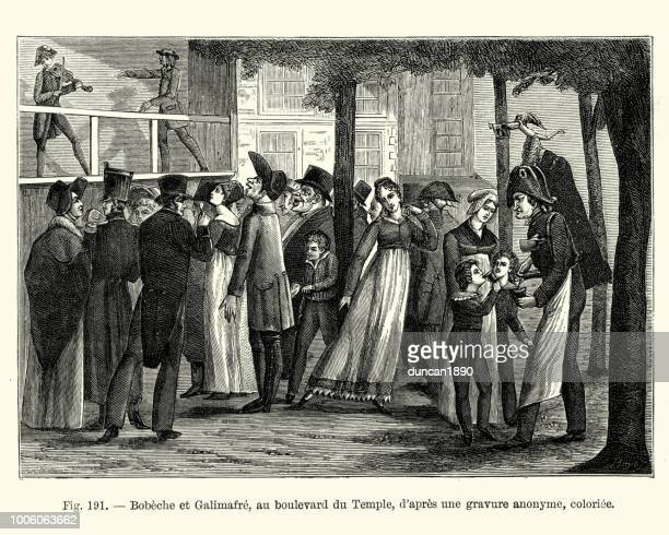 street theatre, bobeche et galimafre, paris france, 19th century - theater industry stock illustrations, clip art, cartoons, & icons