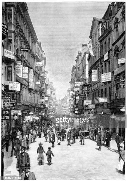street with billboards and publicity in leipzig germany 1897 - historical document stock illustrations, clip art, cartoons, & icons