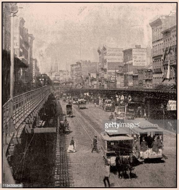 ニューヨークの高架電車がある通り - 1890~1899年点のイラスト素材/クリップアート素材/マンガ素材/アイコン素材