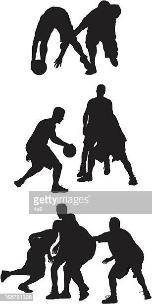 streetball basketball players in action - sports organization stock illustrations, clip art, cartoons, & icons