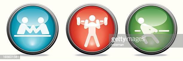ilustraciones, imágenes clip art, dibujos animados e iconos de stock de concentración de vidrio/colección familia - entrenamiento con pesas
