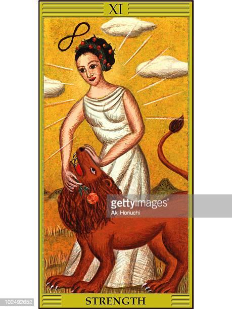 strength tarot card - tarot cards stock illustrations, clip art, cartoons, & icons