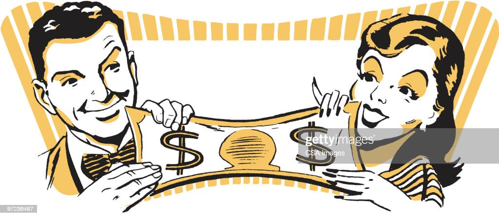 Stretching Their Dollar : Stock Illustration
