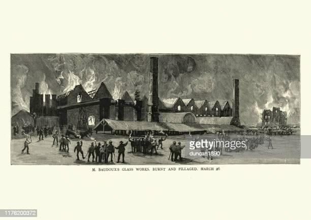 strikers burn the glass factory, belgium, 1886, 19th century - striker stock illustrations