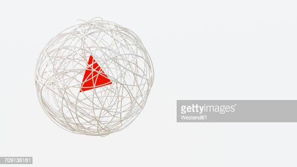 string sphere with red triangle in the center, 3d rendering - angle stock illustrations