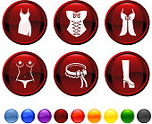 Stripper clothing and attire royalty free vector icon set