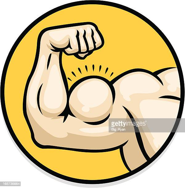 ilustraciones, imágenes clip art, dibujos animados e iconos de stock de brazo de fuerte - músculo humano