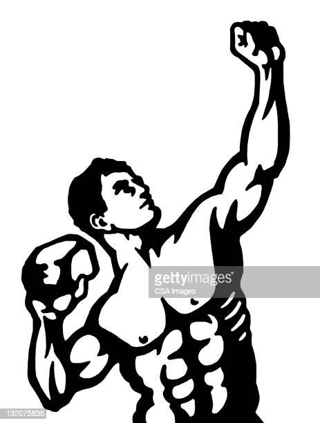 strongman posing with rock - body building stock illustrations, clip art, cartoons, & icons