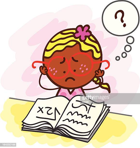 struggling female student cartoon illustration