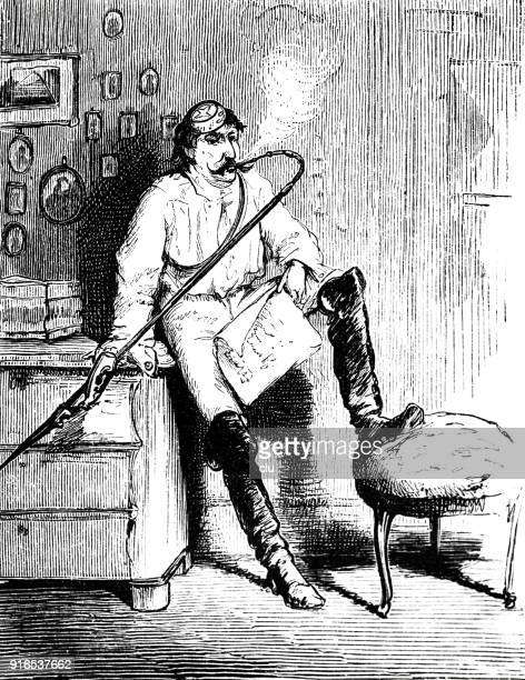 student in his flat smoking pipe - 1877 stock illustrations, clip art, cartoons, & icons