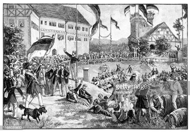 students and politician celebrating festival at wartburg germany 1848 - 1840 1849 stock illustrations