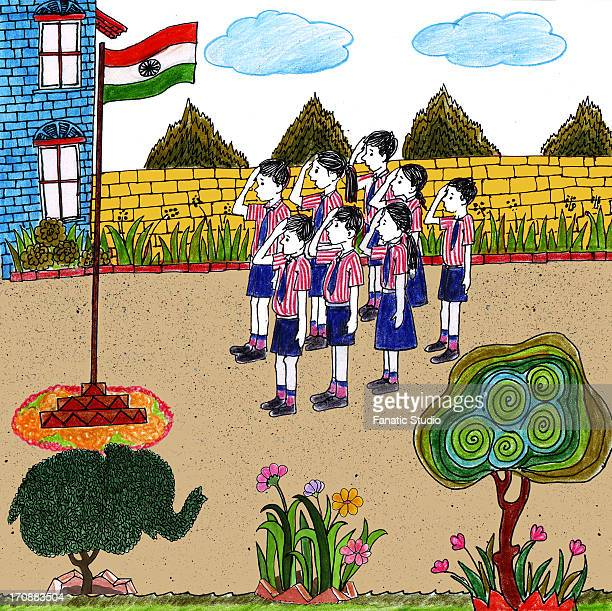 students saluting indian flag on independence day - erection stock illustrations, clip art, cartoons, & icons