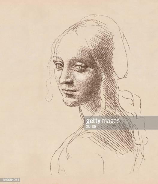 ilustrações, clipart, desenhos animados e ícones de estudo da cabeça de uma garota por leonardo da vinci, c.1483 - itália