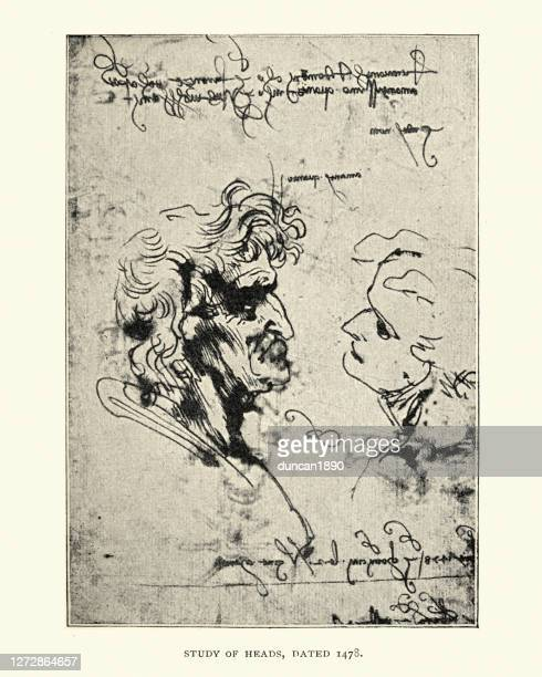 study of heads dated 1478, leonardo - high renaissance stock illustrations