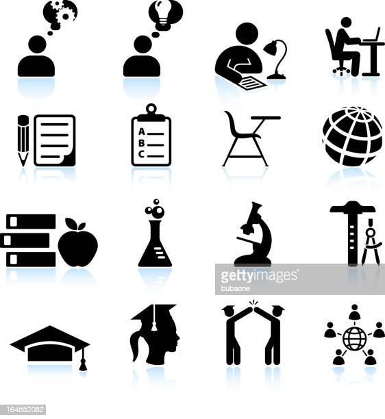 Studying for college success black and white vector icon set