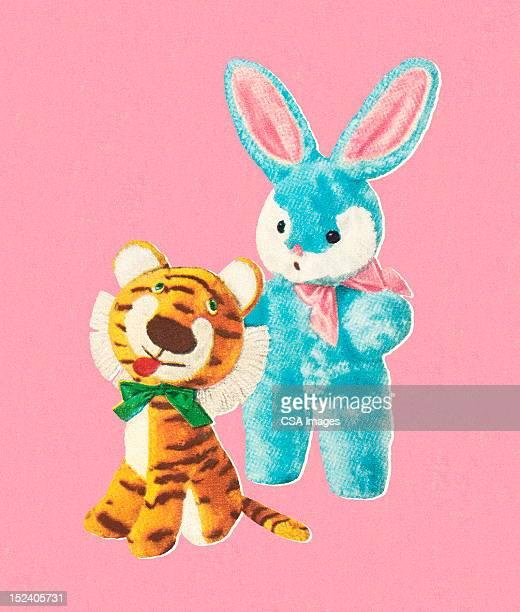 illustrations, cliparts, dessins animés et icônes de rempli tigre et bunny jouets - jouet