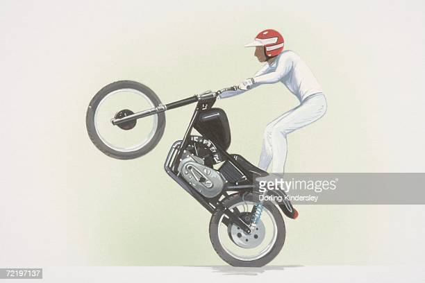 ilustraciones, imágenes clip art, dibujos animados e iconos de stock de stunt rider standing on motorbike, front wheel raised, side view. - casco moto