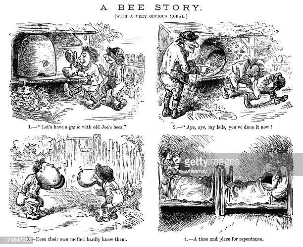 stupidity with bees (victorian engraving) - forgiveness stock illustrations, clip art, cartoons, & icons