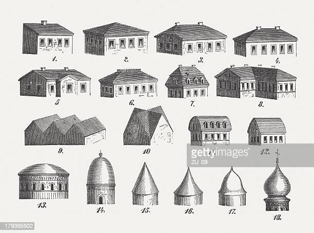Style of roofs, wood engravings, published in 1876