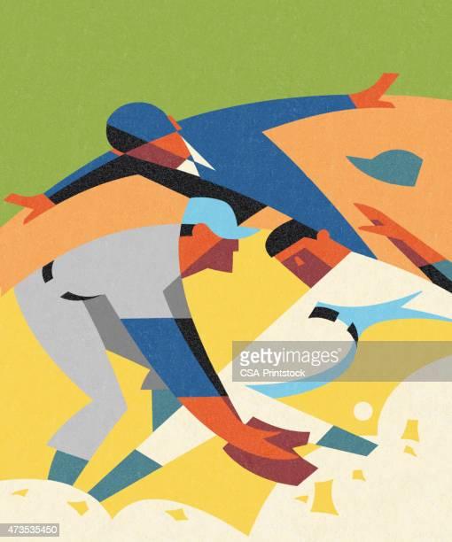 illustrations, cliparts, dessins animés et icônes de stylisé match de baseball - arbitre de baseball