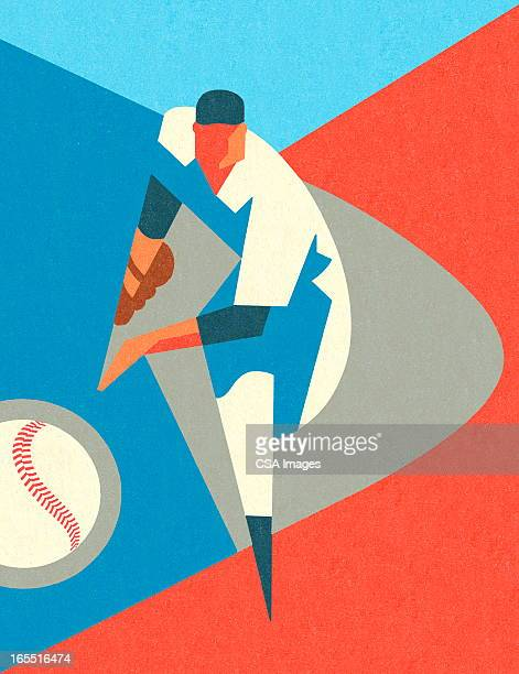 stylized baseball pitcher - baseball stock illustrations, clip art, cartoons, & icons