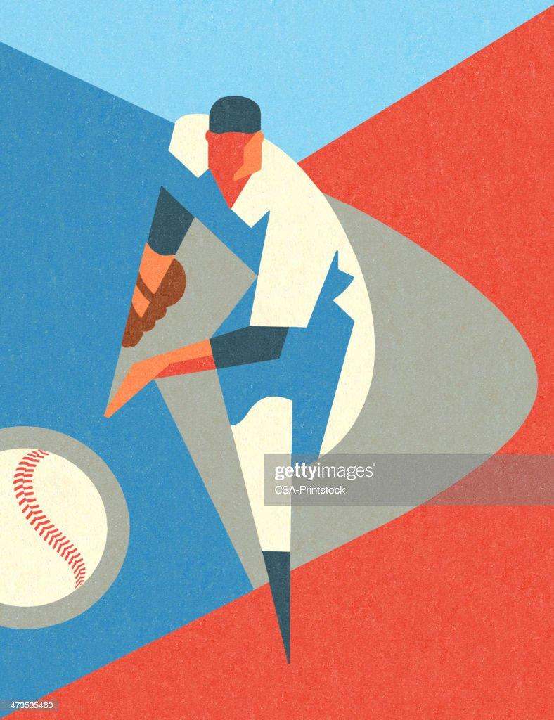Stylized Baseball Pitcher : stock illustration