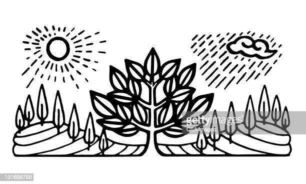 stylized landscape - rain stock illustrations
