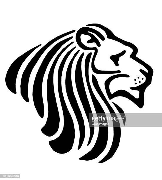 stylized lion - animal mane stock illustrations