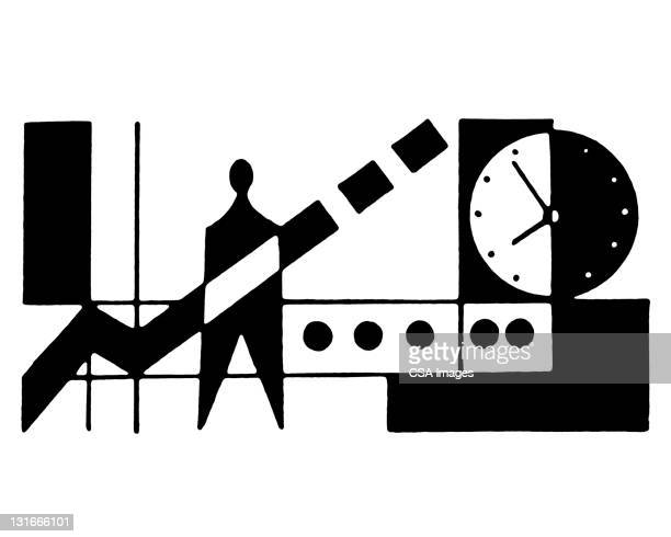stylized machine and man - minute hand stock illustrations