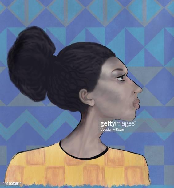アフリカ型の少女の様式化された肖像画 - ユダヤ教点のイラスト素材/クリップアート素材/マンガ素材/アイコン素材