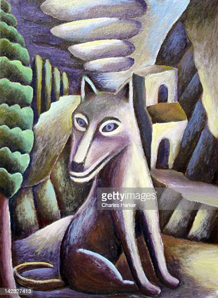 Stylized portrait of dog in landscape