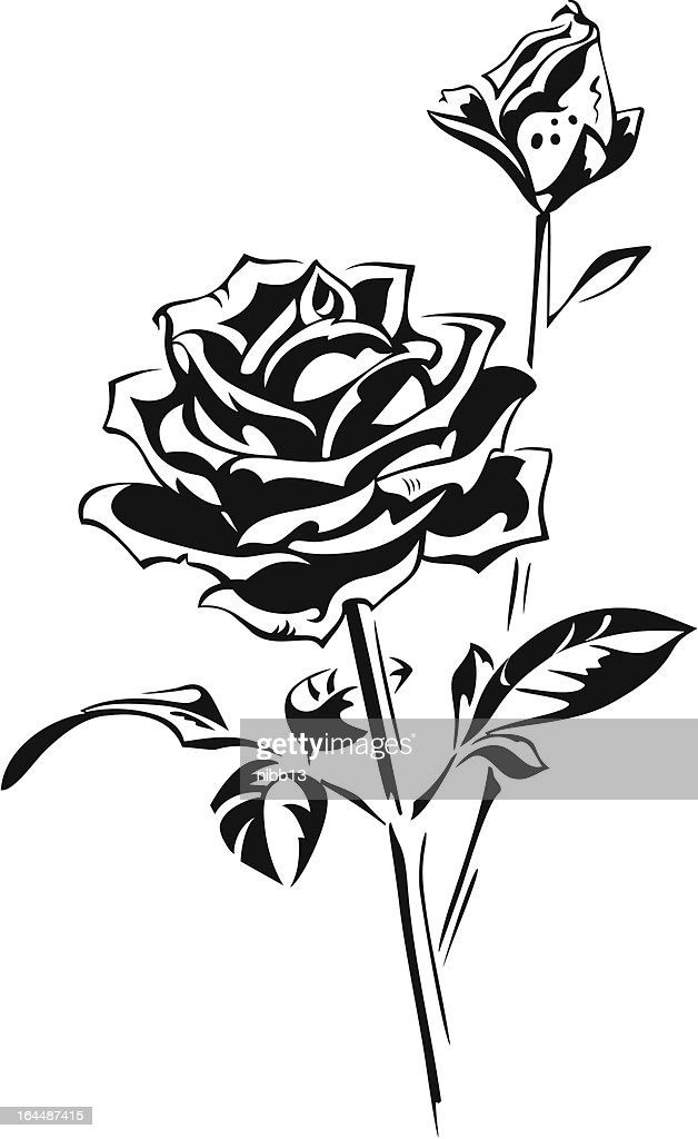 Stylized silhouette of rose