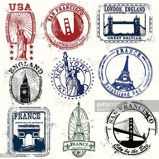 illustrations, cliparts, dessins animés et icônes de stylisé timbres de l'ouest - new york city