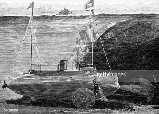 submarine of simon lakes - submarine stock illustrations
