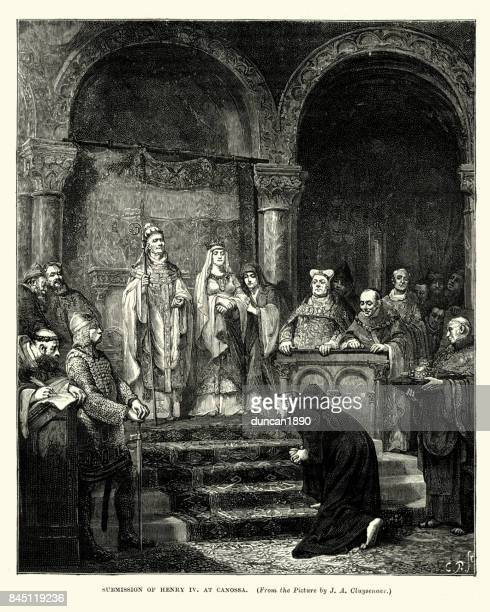 submission of henry iv holy roman emperor at canossa - holy roman emperor stock illustrations